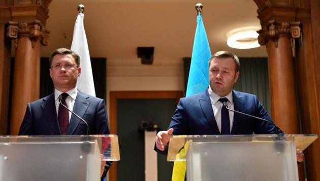 Der russische Energieminister Alexander Nowak und der ukrainische Energieminister Alexej Orschel (Bild: AFP)