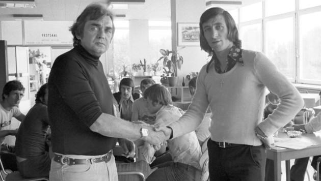 Edi Krieger (re.) mit seinem Club-Brügge-Trainer Ernst Happel (Bild: Votava)