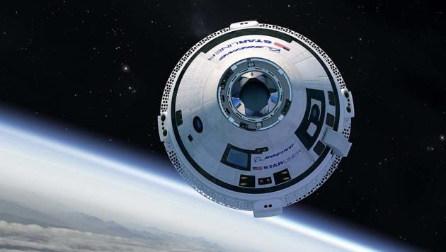 """Die Raumkapsel """"Starliner"""" im Orbit um die Erde (Bild: Boeing)"""