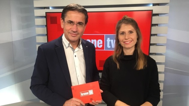 Gerhard Koller im Talk mit Johanna Dibiasi (Bild: krone.tv)