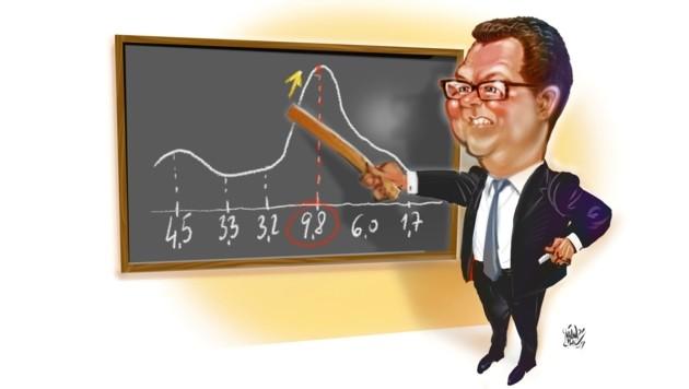 SPÖ-Kommunalsprecher Michael Lindner visualisiert den dramatischen Sprung nach oben. (Bild: Milan A. Ilic)