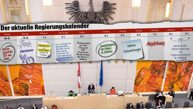 """Bis zur geplanten Angelobung am 7. Jänner kommenden auf ÖVP und Grüne noch einige spannenden Tage zu. (Bild: APA/GEORG HOCHMUTH, """"Krone""""-Grafik)"""