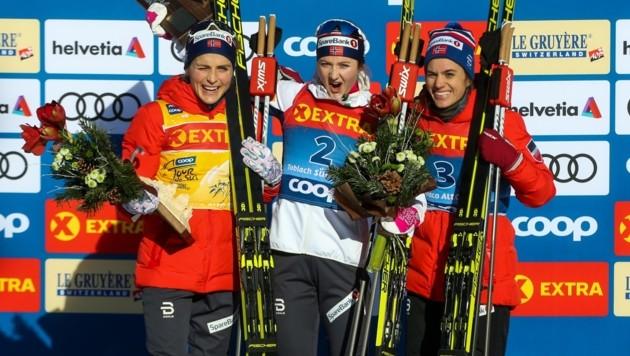 Die Top-3- bei den Damen: Therese Johaug, Ingvild Flugstad Östberg und Heidi Weng (Bild: GEPA)