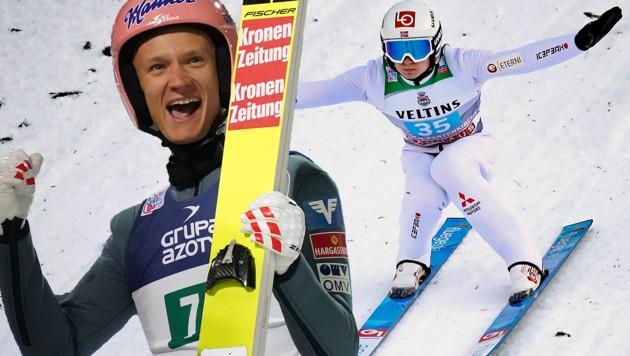Daniel Huber, Österreichs Tagebester in Garmisch, und der Tagessieger Marius Lindvik (NOR) (Bild: GEPA, APA/AFP/JANEK SKARZYNSKI)