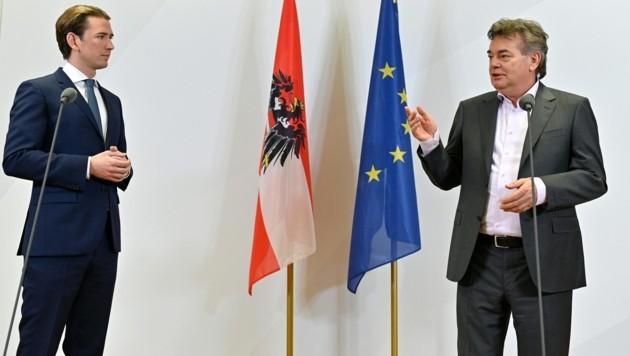 ÖVP-Chef Sebastian Kurz geht mit Grünen-Chef Werner Kogler eine Koalition ein. Die FPÖ warnt. (Bild: APA/Herbert Neubauer)