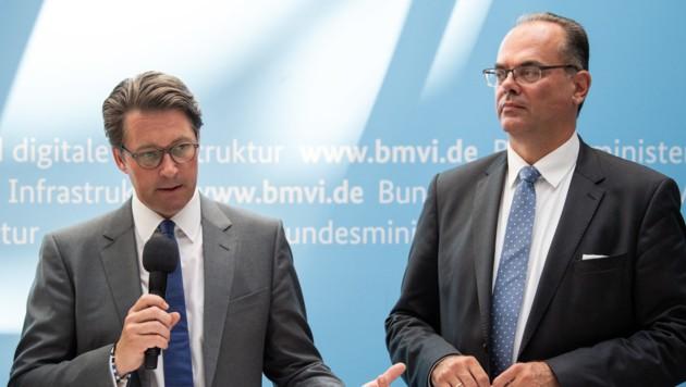 CSU-Verkehrsminister Andreas Scheuer während einer Pressekonferenz mit Andreas Reichhardt (Bild: APA/dpa/Soeren Stache)