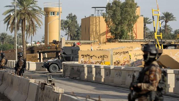 Die schwer bewachte US-Botschaft in Bagdad (Bild: AFP/Ahmad al-Rubaye)