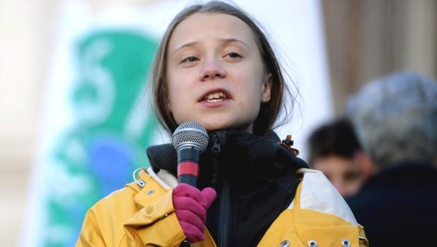 """Greta Thunberg während einer """"Fridays for Future""""-Demo im Dezember in Turin (Bild: APA/AFP/Filippo MONTEFORTE)"""