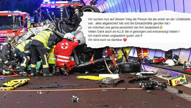 Der Wagen des Tirolers hatte sich überschlagen und wurde völlig demoliert. (Bild: Screenshot facebook.com, LIEBL Daniel, krone.at-Grafik)