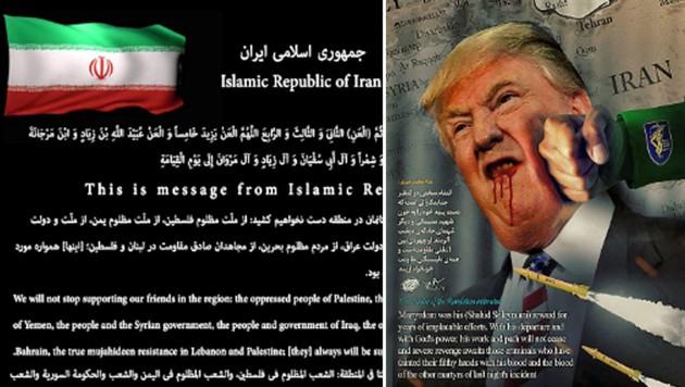 Für Besucher der Website waren für kurze Zeit ein blutender US-Präsident und eine Botschaft der Islamischen Republik Iran zu sehen. (Bild: twitter.com)