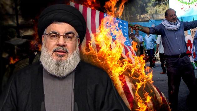 Hisbollah-Führer Sajjed Hassan Nasrallah droht den USA mit Bombenattentaten. (Bild: AFP, APA/AFP/AL-MANAR TV, krone.at-Grafik)