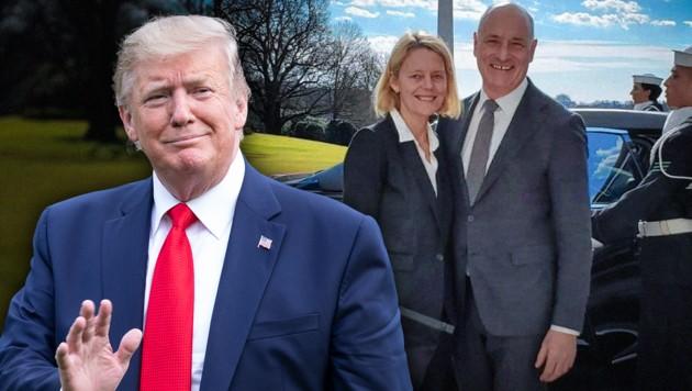 Martin Weiss, unser neuer Botschafter in den USA, mit seiner Ehefrau Susi. Beide wurden in Washington von US-Präsident Donald Trump empfangen. (Bild: APA/AFP, Weiss, krone.at-Grafik)