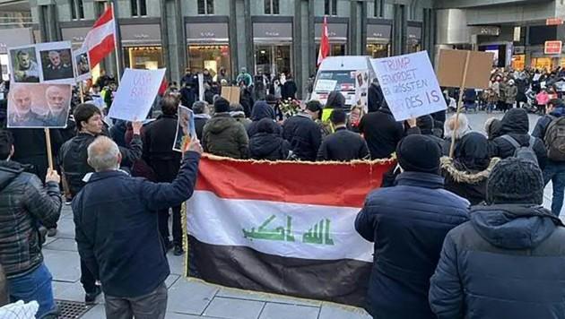 """""""Mahnwache"""" für den getöteten iranischen Top-General Kassem Soleimani am Montagnachmittag in Wien (Bild: APA/ANJA MALENSEK)"""