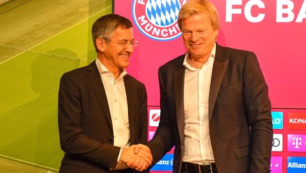 Kahn (re.) mit Neo-Bayern-Präsident Herbert Hainer (Bild: GEPA)