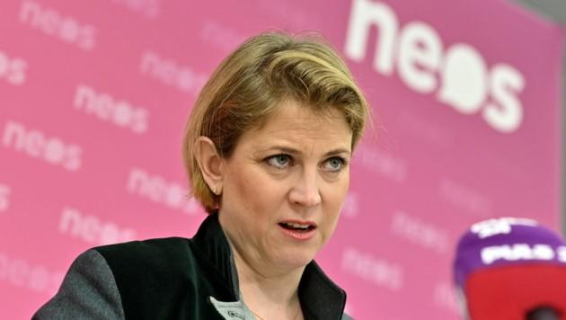 """NEOS-Chefin Beate Meinl-Reisinger wünscht der neuen Regierung """"alles Gute"""". (Bild: APA/HERBERT NEUBAUER)"""