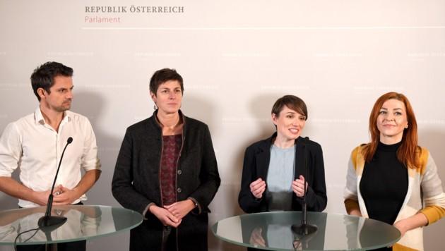 Die neue Klubführung der Grünen: Jakob Schwarz, Astrid Rössler, Sigi Maurer und Ewa Ernst-Dziedzic (v.l.n.r.) (Bild: APA/ROLAND SCHLAGER)