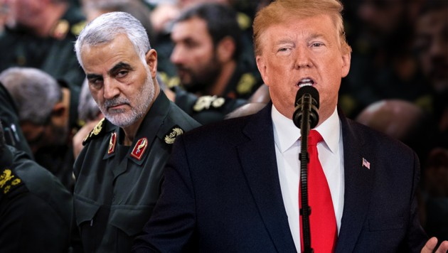 Der getötete Top-General Kassem Soleimani (l.) und Donald Trump während seiner Ansprache, in der er zwar weitere wirtschaftliche Sanktionen gegen den Iran ankündigte, aber keine unmittelbaren militärischen Schritte (Bild: AP, krone.at-Grafik)