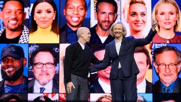 Quibi-Chefin Meg Whitman (rechts) mit Unternehmensgründer Jeffrey Katzenberg (Bild: AFP)