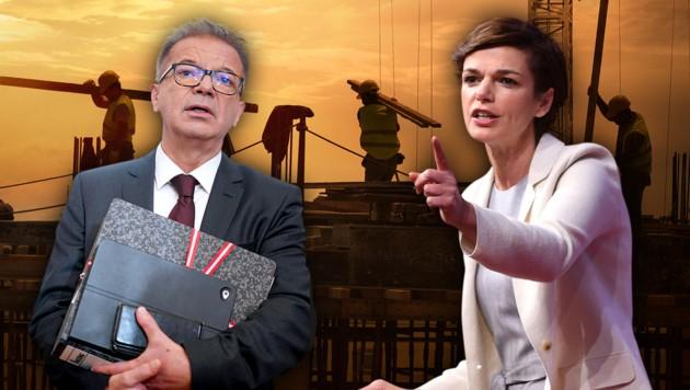 Rudolf Anschober (Grüne) und SPÖ-Chefin Pamela Rendi-Wagner (Bild: APA/HELMUT FOHRINGER, APA/GEORG HOCHMUTH, stock.adobe.com, krone.at-Grafik)
