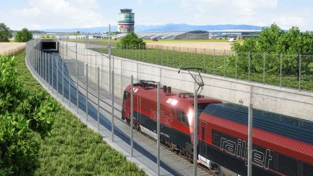 Beim Flughafen Graz soll die Bahn in die Tiefe eintauchen (Bild: ÖBB/3D-Schmiede)
