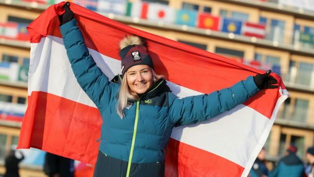 ÖOC-Fahnenträgerin Amanda Salzgeber verpasste YOG-Gold nur um 13 Hundertstel. (Bild: GEPA pictures/ÖOC)
