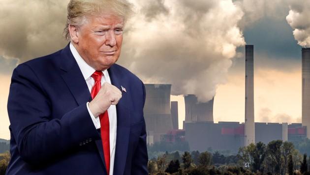 Der 45. US-Präsident Donald Trump galt bisher als Klimawandel-Skeptiker. (Bild: AP, stock.adobe.com, krone.at-Grafik)