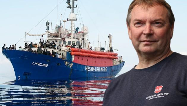 Claus-Peter Reisch will nicht mehr Kapitän des NGO-Schiffes Lifeline sein. (Bild: Hermine Poschmann /Mission Lifeline, Henning Schlottmann, krone.at-Grafik)