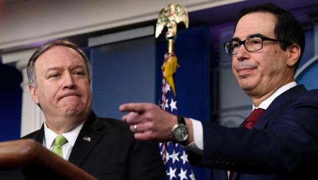 US-Außenminister Mike Pompeo und US-Finanzminister Steve Mnuchin (Bild: AP)