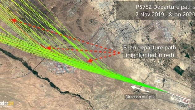 Die Abflugwege der ukrainischen Maschine seit November (Bild: flightradar24)