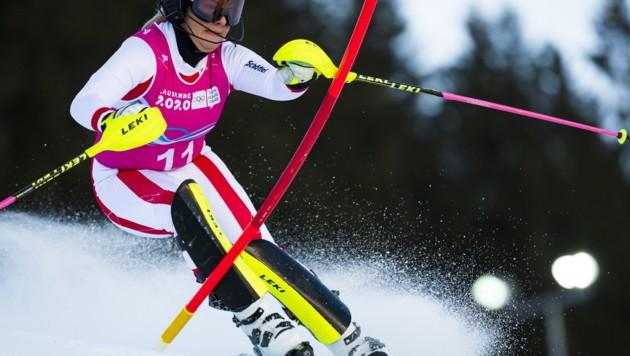 Amanda Salzgeber fuhr mit der zweitbesten Zeit im Kombi-Slalom zu Gold bei den olympischen Jugendspielen in Les Diablerets. (Bild: EPA)