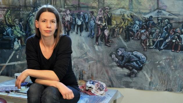 Evelyn Kreinecker widmet sich in Gemälden der Gegenwart (Bild: Picasa)