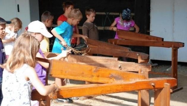 Arbeit mit Flachs: Schnuppertag der Jugend in Maria Saal. (Bild: Freilichtmuseum Maria Saal)