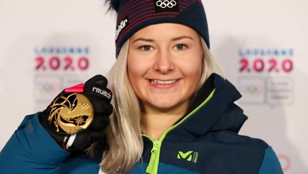 Kombi-Gold hat Amanda Salzgeber bereits in Händen, beim Riesentorlauf liegt die 17-Jährige nach Lauf eins in Lauerstellung. (Bild: GEPA pictures)