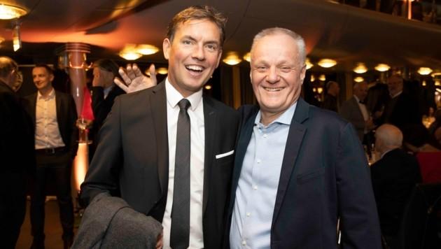 Altachs Coach Alex Pastoor und Vizepräsident Werner Gunz hatten ihren Spaß. (Bild: Maurice Shourot)