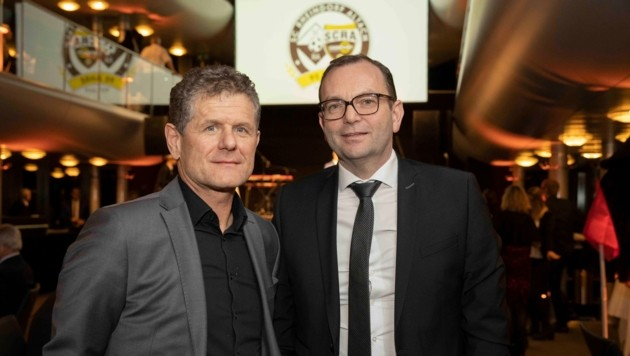 VFV-Präsident Horst Lumper (li.) und SCRA-Geschäftsführer Christoph Längle genossen den Abend. (Bild: Maurice Shourot)