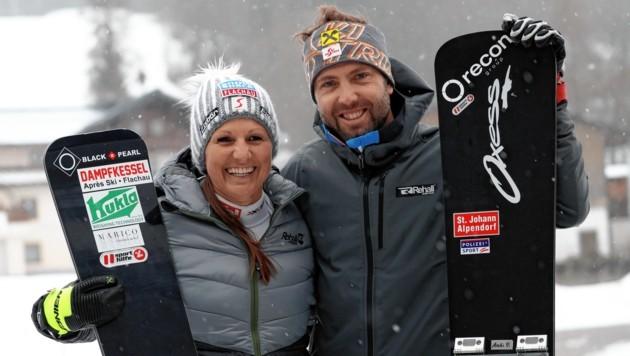 Geben am Dienstag auf dem Bucheben in Bad Gastein wieder Gas: die Snowboard-(G)Oldies Claudia Riegler und Andreas Prommegger (Bild: Andreas Tröster)