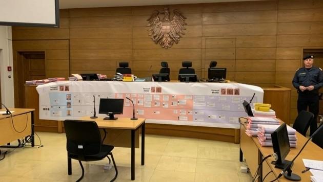 Am Richtertisch hängt ein Organigramm der Verbrechen des okkulten Trios. (Bild: Kerstin Wassermann)