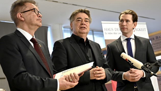 Von links: Sozialminister Rudolf Anschober (Grüne), Vizekanzler Werner Kogler (Grüne), Bundeskanzler Sebastian Kurz (ÖVP) im Haus der Barmherzigkeit in Wien-Ottakring (Bild: APA/HANS PUNZ)