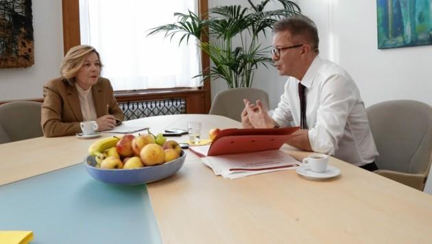 Sozialminister Rudolf Anschober im Interview mit Conny Bischofberger (Bild: Jöchl Martin)