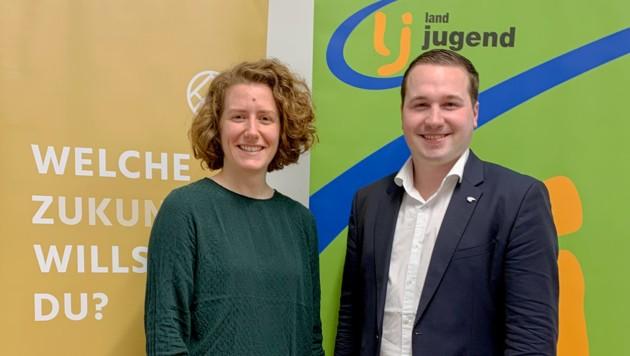 Katharina Rogenhofer, Sprecherin des Klimavolksbegehrens, und der Bundesleiter der Landjugend, Martin Kubli (Bild: Landjugend Österreich)