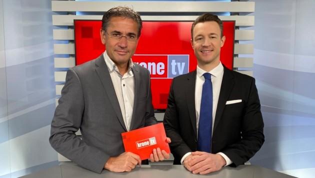 Gerhard Koller im Talk mit Finanzminister Gernot Blümel (Bild: krone.tv)