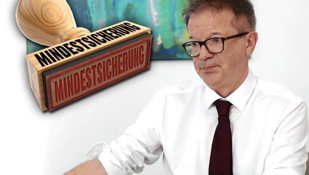 Sozialminister Rudolf Anschober könnte sich eine Verländerung der Mindestsicherung vorstellen. (Bild: Jöchl Martin, stock.adobe.com, krone.at-Grafik)