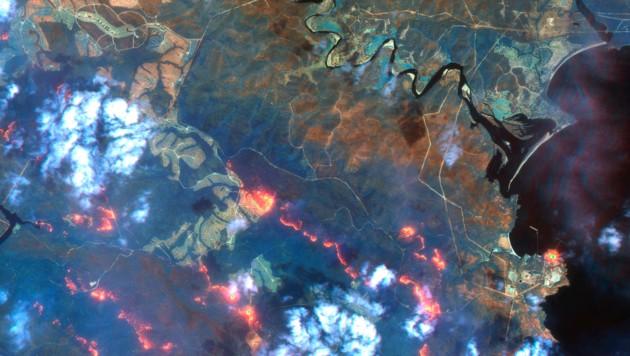 Ein Satellitenfoto zeigt die Waldbrände, die sich in der Gegend südlich von Eden und Twofold Bay ausbreiten. (Bild: ©2020 Maxar Technologies)