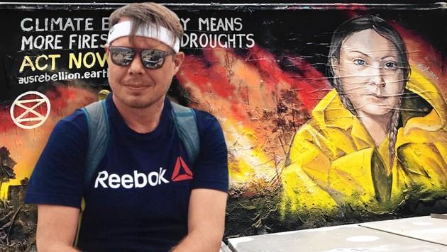 """Hannes Eimer aus Klosterneuburg (NÖ): """"Viele Australier sind wütend über die Inaktivität rund um den Klimawandel"""", wie ein Greta-Graffiti in Melbourne deutlich zeigt. (Bild: Hannes Eimer, krone.at-Grafik)"""