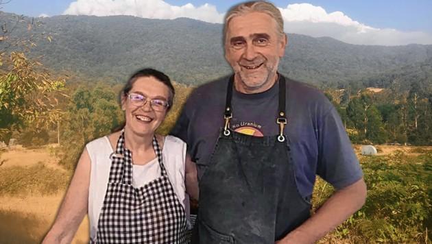 Gabi und Thomas Moritz aus Enns (OÖ) sind 1987 nach Australien ausgewandert. Ihre 250 Hektar große Farm liegt im Nordosten von Victoria, der Rauch ist zehn Kilometer nahe.  (Bild: Firma Mulitkraft, krone.at-Grafik)