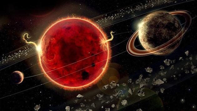 Künstlerische Illustration: Der neu entdeckte Exoplanet Proxima c (rechts) umkreist in etwa 5,2 Jahren seine Sonne (Bildmitte). Links im Bild Proxima b. (Bild: Lorenzo Santinelli)