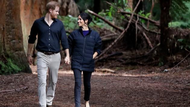 Prinz Harry und Herzogin Meghan bei einem Waldspaziergang in Neuseeland (Bild: Kirsty Wigglewsorth / PA / picturedesk.com)