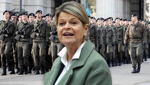 Verteidigungsministerin Klaudia Tanner: Teiltauglichkeit soll rasch eingeführt werden. (Bild: APA/GEORG HOCHMUTH, APA/HERBERT PFARRHOFER, krone.at-Grafik)