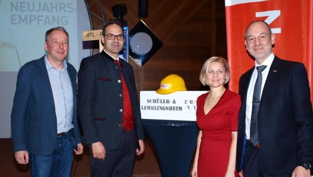 WK-Neujahrsempfang in Reutte: Wolfgang Winkler, Christoph Walser, Evelyn Geiger-Anker und Christian Strigl (v. l.). (Bild: Daum Hubert)