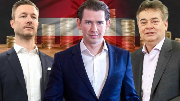Finanzminister Gernot Blümel, Bundeskanzler Sebastian Kurz und Vizekanzler Werner Kogler werden die befristete Maßnahme verlängern. (Bild: APA/GEORG HOCHMUTH, APA/HELMUT FOHRINGER, AP, stock.adobe.com, krone.at-Grafik)